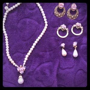 1928 Pearl & Porcelain Rose Necklace & 3 Earrings